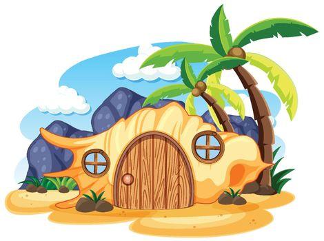 Shell fairy tale house on the beach cartoon style on white background