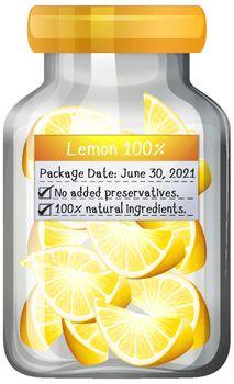 Lemon preserve in glass jar