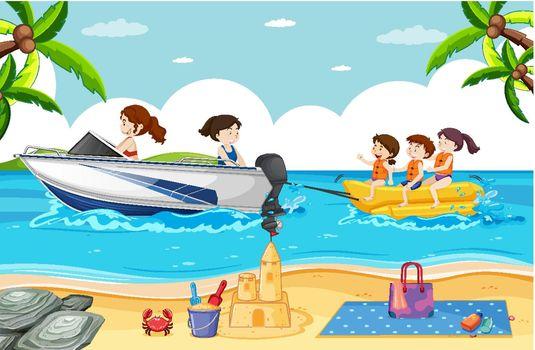Beach scene with people playing banana boat