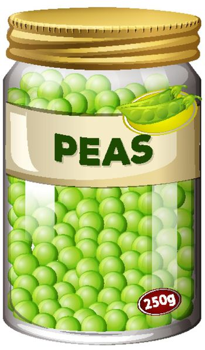 Peas preserve in glass jar