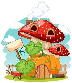Pumpkin and mushroom house cartoon style on sky background