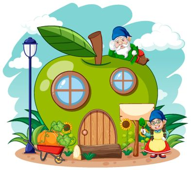 Gnomes and green apple house in the garden cartoon style on sky background