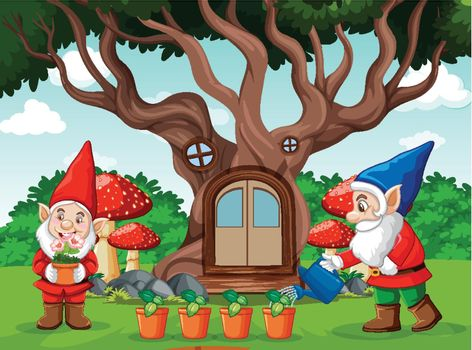 Gnomes and tree house cartoon style on garden background