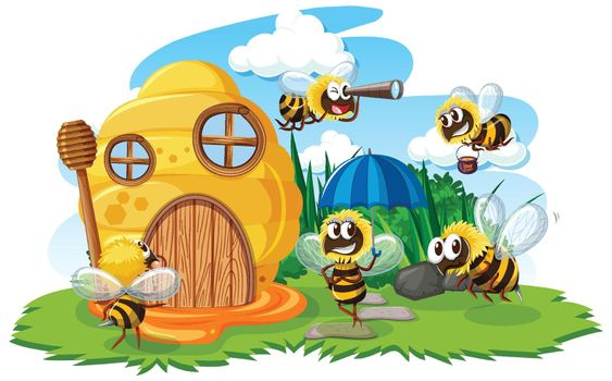 Honeycomb house with cute bees cartoon style on white background