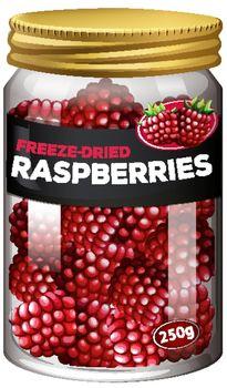 Raspberries preserve in glass jar