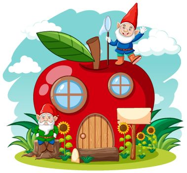 Gnomes and red apple house cartoon style on sky background