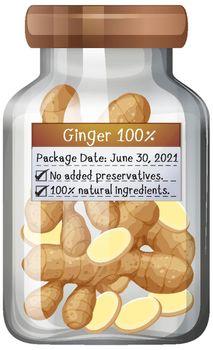 Ginger preserve in glass jar