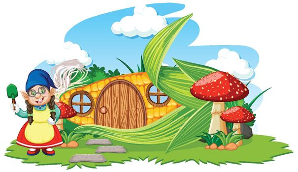 Gnome and corn house with mushroom cartoon style on sky background