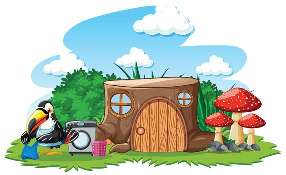 Stump house with cute bird cartoon style on white background