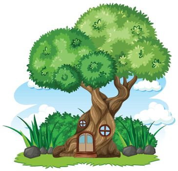 Tree house and some grass cartoon style on white background