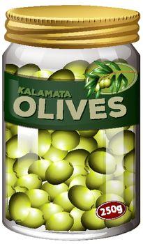 Olives preserve in glass jar