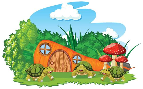 Carrot house with three turtles cartoon style on white background