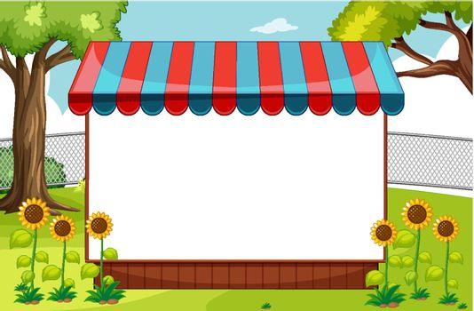 Blank banner with awning in nature park scene with sunflowers