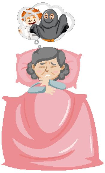 Old woman having a nightmare