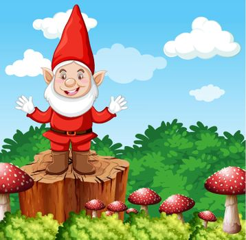 Gnome standing on stumpwith mushroom on garden background