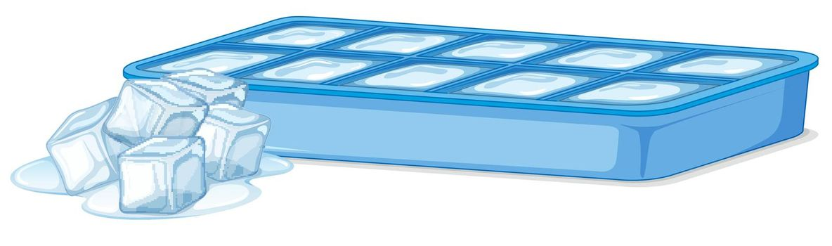Ice tray with ice and melting ice cubes on white background