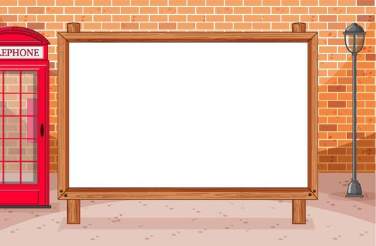 Blank wooden frame with awning in city on brick wall scene