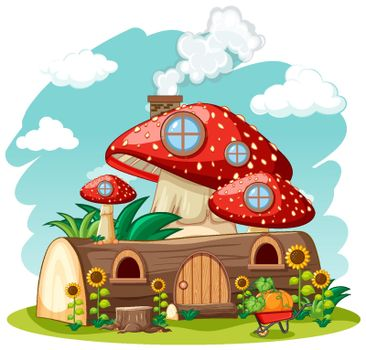 Timber mushroom house and in the garden cartoon style on sky background