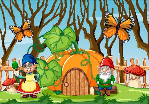 Gnome with pumpkin house in the garden with butterfly cartoon style