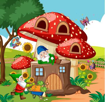Gnomes and timber mushroom house and in the garden cartoon style on garden background