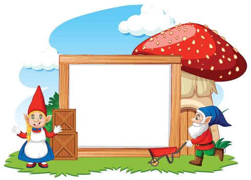 Gnomes and mushroom house with blank banner cartoon style on white background
