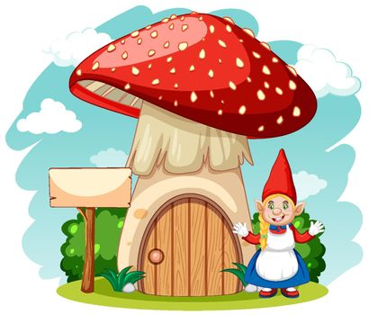 Mushroom house with gnome in cartoon style on white background
