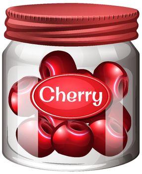 Cherry preserve in glass jar