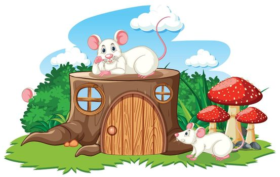 Stump house with white mouse cartoon style on white background