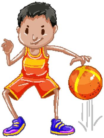 Athlete bouncing ball on white background