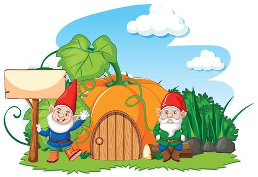 Gnomes and pumpkin house cartoon style on white background