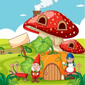 Gnomes and pumpkin mushroom house and in the garden cartoon style on garden background