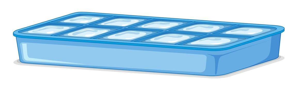 Ice tray full of ice on white background