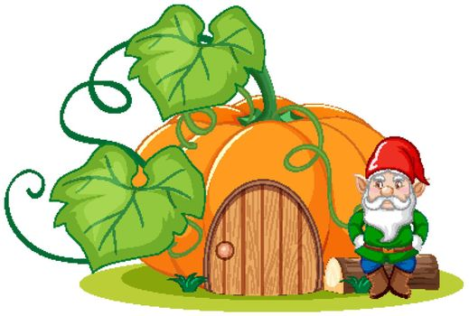 Gnome sitting beside pumpkin house cartoon style on white background
