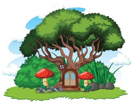 Tree house and mushroom cartoon style on white background