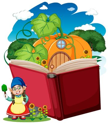 Gnome and pumpkin house with pop up book cartoon style on white background