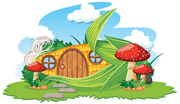 Corn house with mushroom cartoon style on sky background