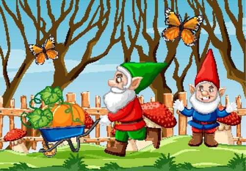 Gnome pushing pumpkin cart and butterfly in the garden cartoon style scene