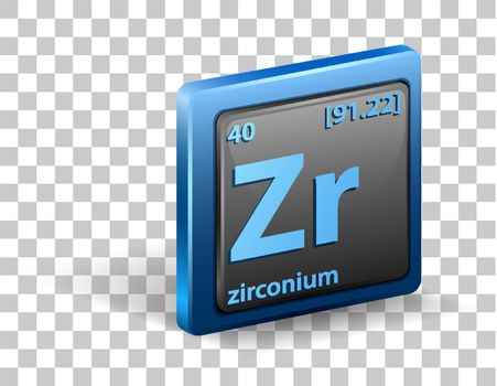 Zirconium chemical element. Chemical symbol with atomic number and atomic mass.