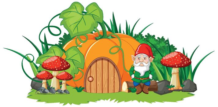 Pumpkin house and gnome cartoon style on white background