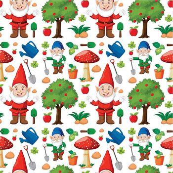 Gardening gnome seamless pattern