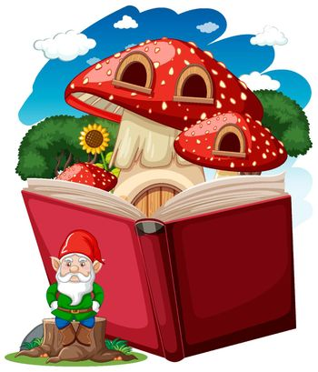 Gnome and mushroom house with pop up book cartoon style on white background