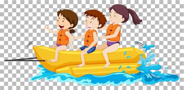 Children on the banana boat