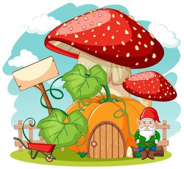 Gnomes and pumpkin mushroom house cartoon style on white background
