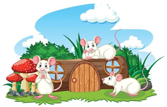 Timber house with three mouses cartoon style on white background