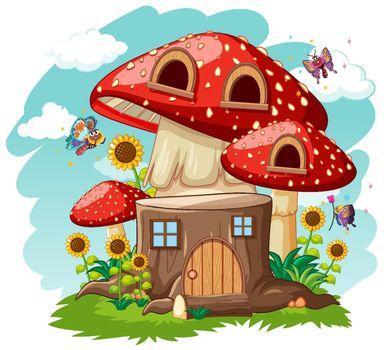 Stump mushroom house and in the garden cartoon style on sky background