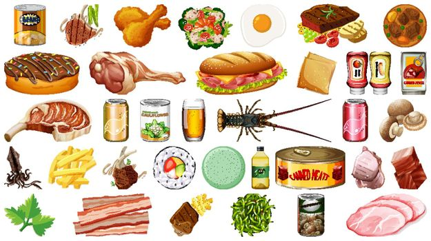 Set of food isolated illustration