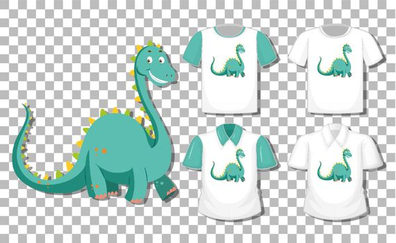 Dinosaur cartoon character with set of different shirts isolated on transparent background illustration