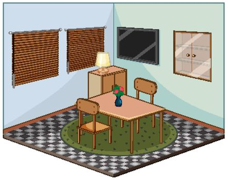 Living room with furnitures isometric illustration