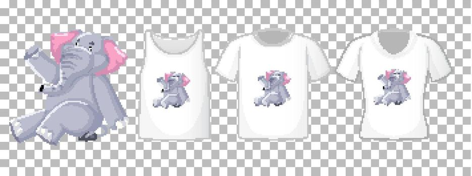 Elephant in sitting position cartoon character with many types of shirts on transparent background illustration