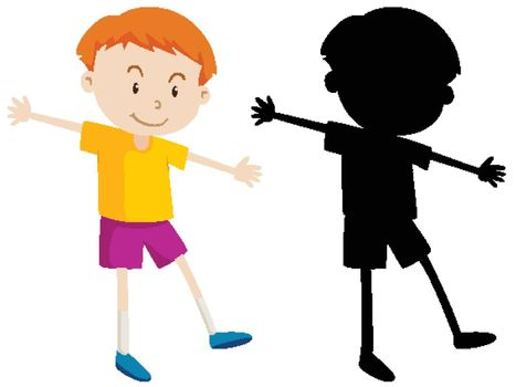 Cute boy in colour and silhouette illustration
